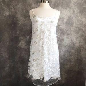 NEW Max Studio Sequin White Embroidered Slip Dress